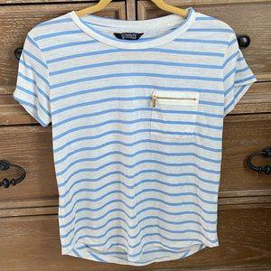 COMPANY ELLEN TRACY Top, Blue Cream, Stripes, Sz S